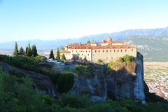 View of the mountains and the valley where the monasteries of Meteora Stock Image
