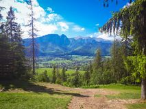 A view of the mountains on the way to Gubalowka in Poland. Beautiful landscape royalty free stock image