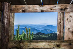 View of the mountains. From wooden house Stock Photography