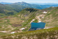 View from the mountaintop - amazing valley with lake Royalty Free Stock Photography