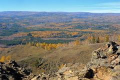 View from mountaintop on autumn forest Royalty Free Stock Image