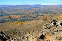 View from mountaintop on autumn forest Royalty Free Stock Photo