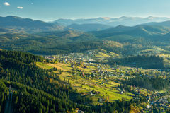 The view from the mountaintop to the village Royalty Free Stock Image