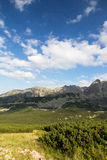 View on mountais in summer and blue sky with clouds Royalty Free Stock Image