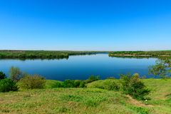 View at the estuary of the Kamenka River near the village of Res. View at the mouth of the Kamenka River near the village of Respublikanets, Kherson region, a Royalty Free Stock Images