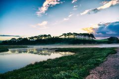 A view of the mouth of the River Otter at Budleigh Salterton royalty free stock photo