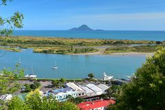 View of Moutohora Island in the distant from Puketapu Lookout at Whakatane town in New Zealand royalty free stock image