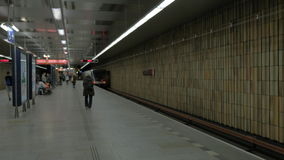 View of moving away subway train on the station. Prague, Czech Republic stock footage
