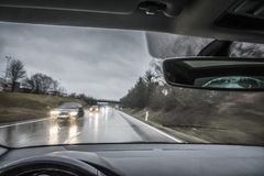 View from a moving car in the rain Royalty Free Stock Image