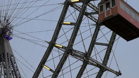View of the moving ferris wheel from the ground, Vienna, Austria stock video footage