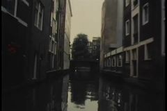View from moving motorboat on canal stock footage