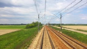 View from moving train of railway stock video footage