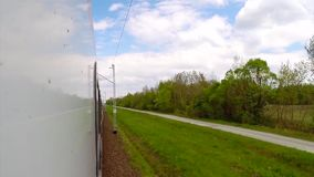 View from moving train of railway stock footage