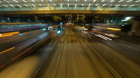 View from moving tram in night Hong Kong Royalty Free Stock Photography