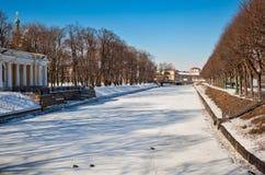 View of Moyka river and Mikhailovsky garden Stock Photo