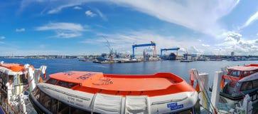 The view from the MSC Fantasia. Kiel, Germany - September 2, 2017: The cruise ship MSC Fantasia at the harbor of Kiel Royalty Free Stock Photo