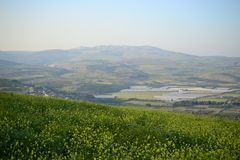 View of Mt Arbel next to sea of Galilee Kinneret lake, beautiful lake landscape, Israel, Tiberias royalty free stock images
