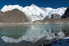 View of Mt Cho Oyu, Gokyo, Solu Khumbu, Nepal. View of Mt. Cho Oyu from Gyozumpha Tsho Lake, Gokyo, Solu Khumbu, Nepal Royalty Free Stock Photography