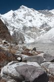 View of Mt Cho Oyu, Gokyo, Solu Khumbu, Nepal. View of Mt. Cho Oyu from moraine of Ngozumpa Glacier, Gokyo, Solu Khumbu, Nepal Royalty Free Stock Photography