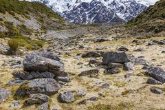 View of Mt Cook National Park, New Zealand. Royalty Free Stock Photos