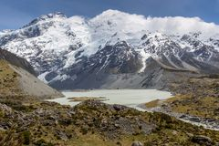 View of Mt Cook National Park, New Zealand. Royalty Free Stock Images