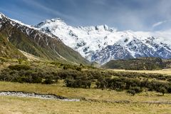 View of Mt Cook National Park, New Zealand. Stock Image