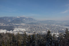 View From Mt. Dobratsch To Villach In Winter Royalty Free Stock Images