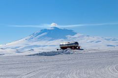 View of Mt. Erebus in Antarctica stock photo