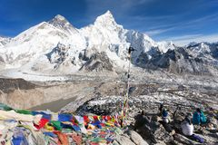 View of Mt. Everest, Lhotse and Nuptse Stock Image