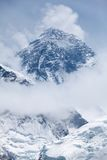 View of mt. Eversst from Kala Patthar, Solu Khumbu, Nepal. View of mt. Everest between the clouds from Kala Patthar, Solu Khumbu, Nepal Royalty Free Stock Photo