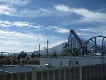 View of Mt. Fuji and the famous Fuji-Q theme park royalty free stock photo