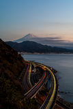 View of Mt. Fuji with Tomai expressway and Suruga bay Stock Photos