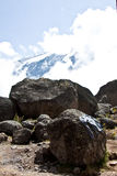 View of Mt. Kilimanjaro. Through the clouds Royalty Free Stock Photos
