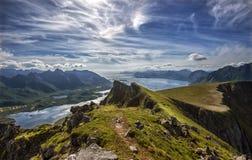 View from Mt. `Kvasstinden` in Vågan, Lofoten islands stock image