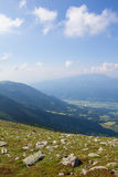 View From Mt. Mirnock Into Drautal Valley & Mountains Behind Royalty Free Stock Photography