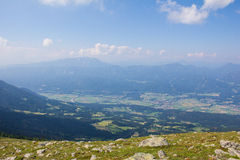 View From Mt. Mirnock Into Drautal Valley & Mountains Behind Stock Photography