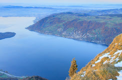 View from Mt. Rigi in Winter Evening Royalty Free Stock Photo