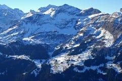 View at Mt Schildhorn,  Switzerland. View at Mt Schildhorn above Muerren village, Bernese Oberland, Switzerland Royalty Free Stock Images