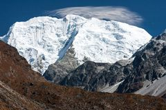 View of Mt. Shishapangma from Langtang Valley, Himalayas, Nepal Royalty Free Stock Photography