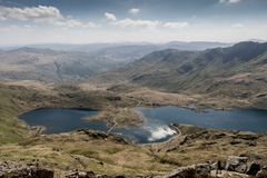 View from a mt Snowdon onto lakes in a sunny day. stock photo