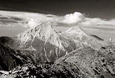 A view of Mt. Vihren, the highest peak in Eastern Europe. In black & white stock photos