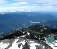 View from Mt Whistler, Canada. View from Mt Whistler towards Whistler Village, British Columbia, Canada Stock Photo