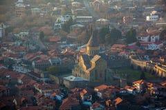 View of Mtskheta and Svetitskhoveli from Jvari church. Georgia Royalty Free Stock Images