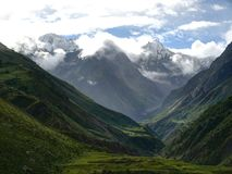 View from Mu Gompa - End of Tsum Valley - Nepal Stock Image
