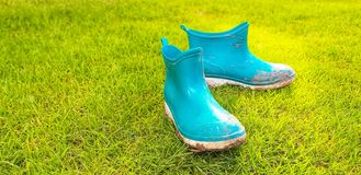 The view of the mud boots. royalty free stock image