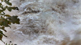 View of a muddy rapid river stock video