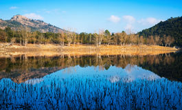 View of Muga lake  in autumn. Day. Catalonia,  Spain Royalty Free Stock Photo