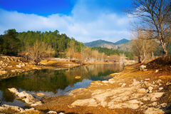 View of Muga river in winter. Catalonia Stock Images
