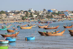 View of Mui Ne fishing village in Vietnam Royalty Free Stock Images