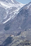 View of Muktinath village and Thorung La mountain pass in Annapurna Area, Nepal. Stock Image